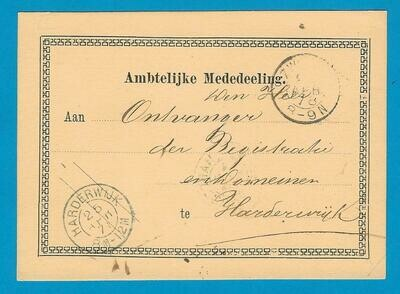 NEDERLAND ambtelijke briefkaart 1878 Zwolle naar Harderwijk