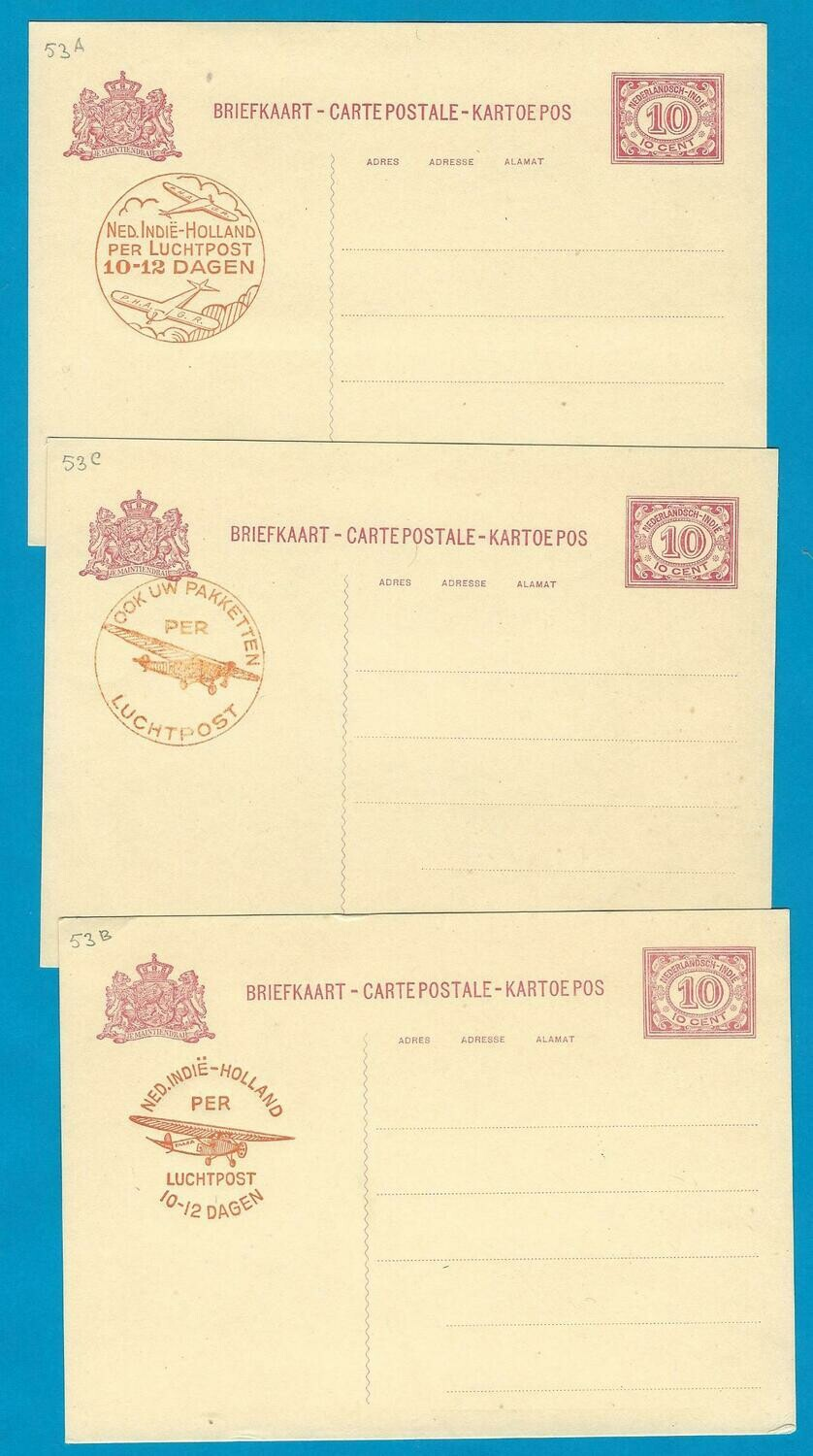 NETHERLANDS INDIES 3 postal cards 1930 airmail cachet *