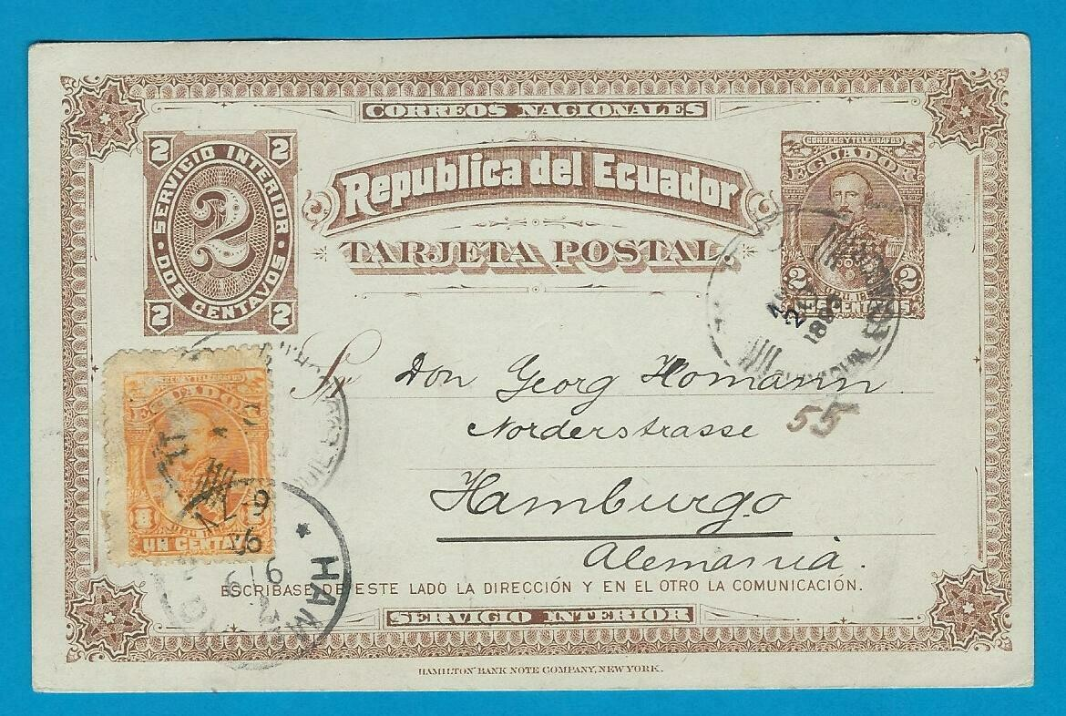ECUADOR postal card 1892 Guayaquil to Germany