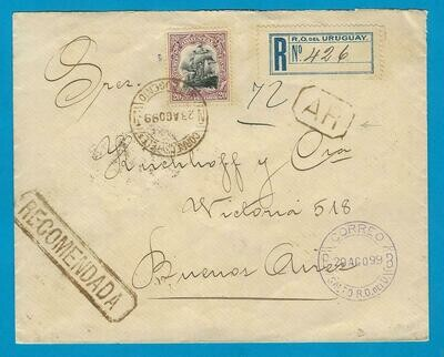 URUGUAY AR cover 1899 San Eugenio to Argentina