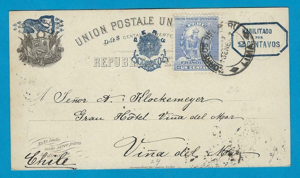 PERU uprated postal card 1897 Lima to Chile