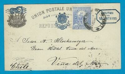 PERU uprated postal card 1897 Lima to Chile
