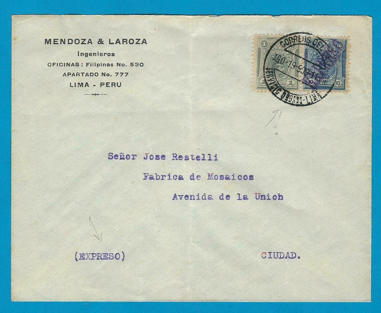 PERU expres cover 1909 Lima Urban delivery