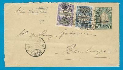 EL SALVADOR uprated postal envelope 1908 San Salvador to Germany