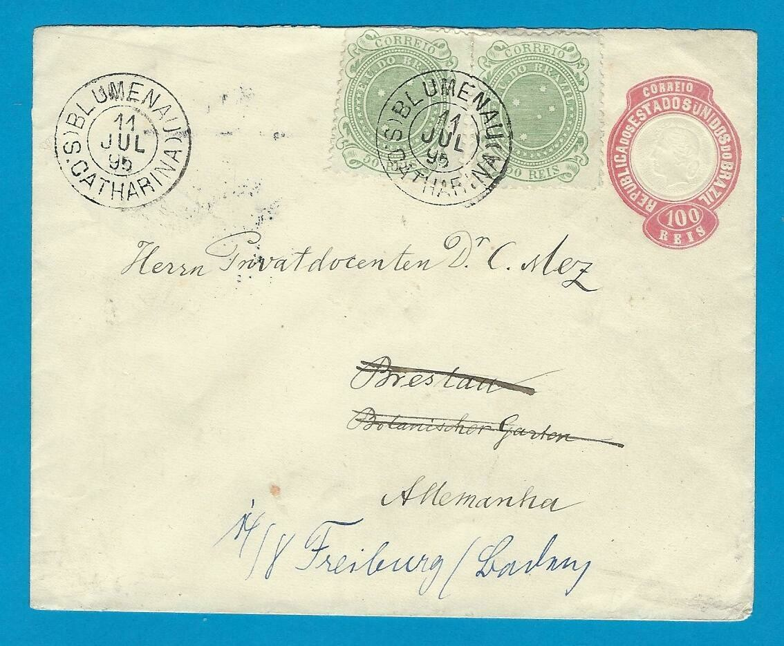 BRAZIL uprated envelope 1895 Blumenau to Germany