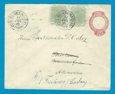 BRAZIL uprated envelope 1895 Blumenau to Germany