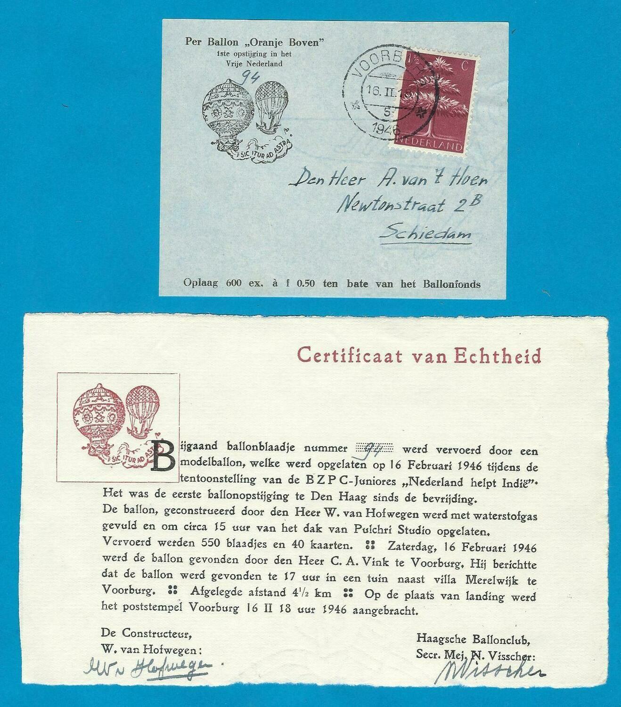 NEDERLAND Ballon kaart 1946 Voorburg met certificaat
