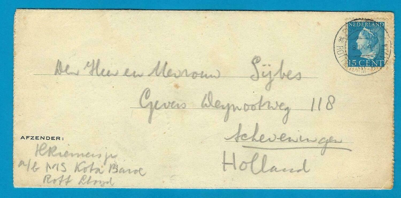 NEDERLAND scheepsbrief M.S. Kota Baroe 1947 naar Scheveningen