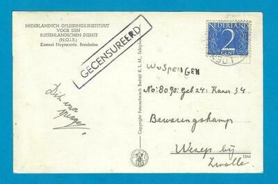 NEDERLAND prentbriefkaart 1947 Loenen naar Wezep met censuur