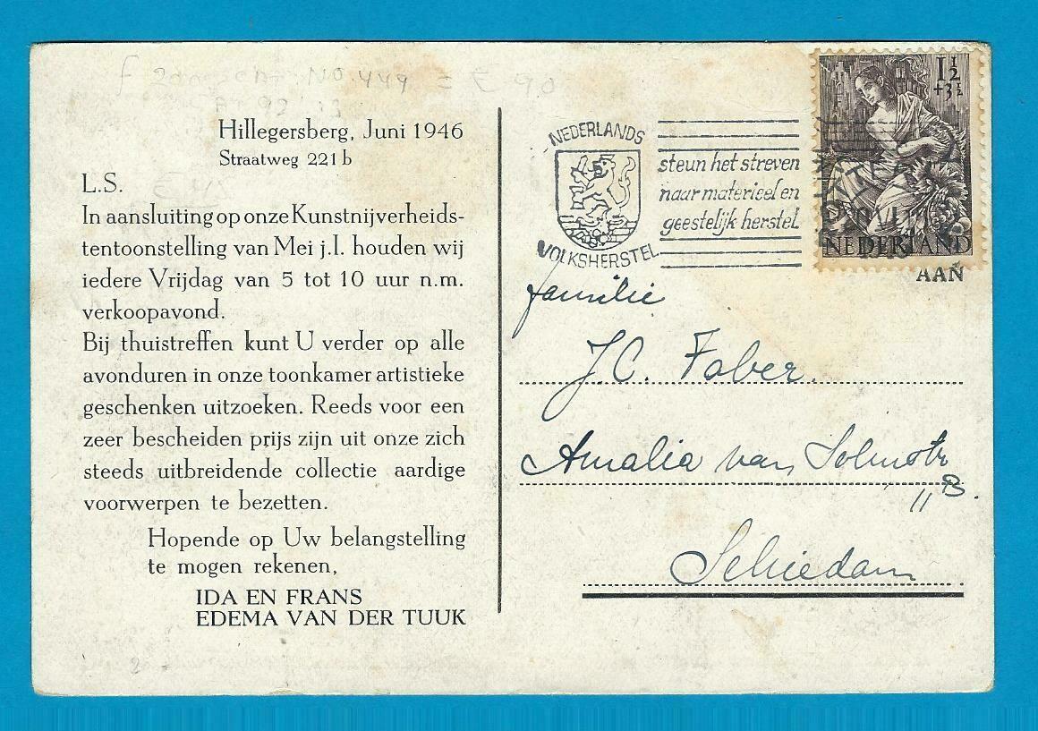 NEDERLAND drukwerk 1946 Rotterdam Hillegersberg