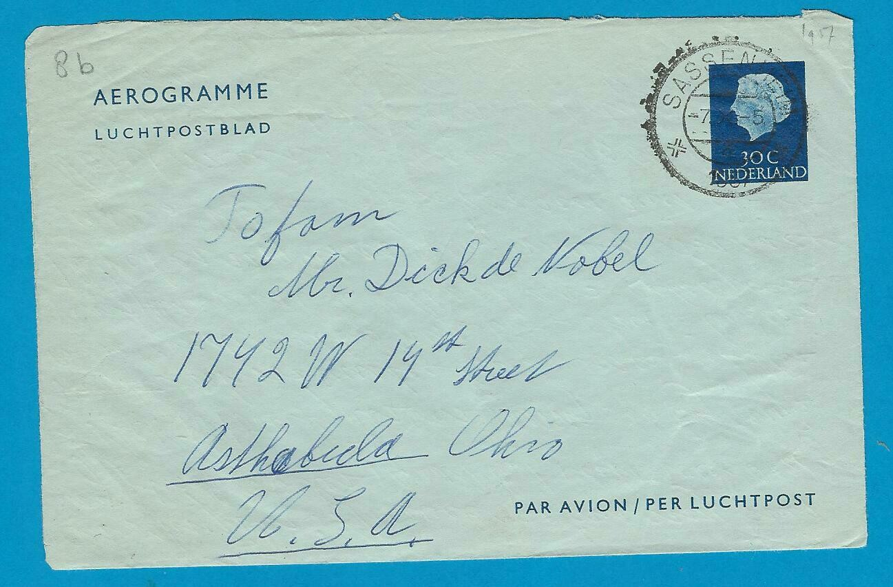 NEDERLAND lp blad 1957 Sassenheim naar USA