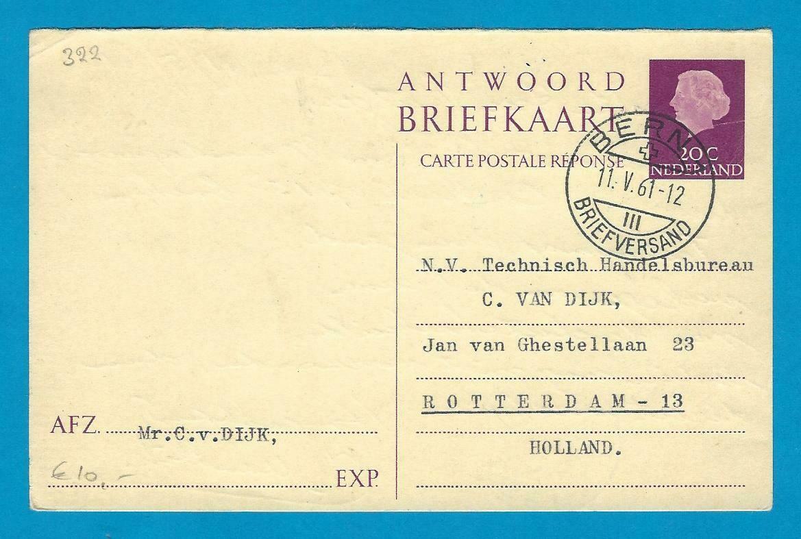 NEDERLAND antwoord briefkaart 1961 Bern Zwitserland