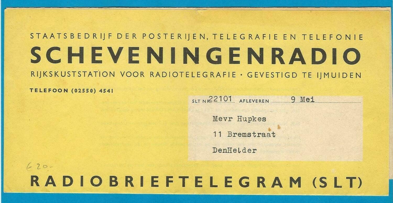 NEDERLAND Radiobrief telegram naar Den Helder