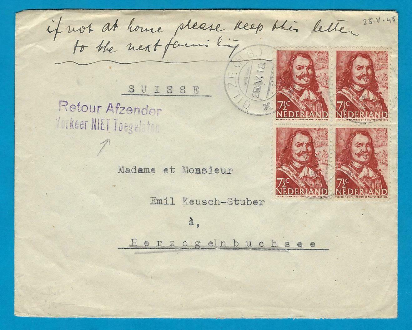 """NEDERLAND brief 25-V-1945 Gilze """"Retour Afzender..."""""""