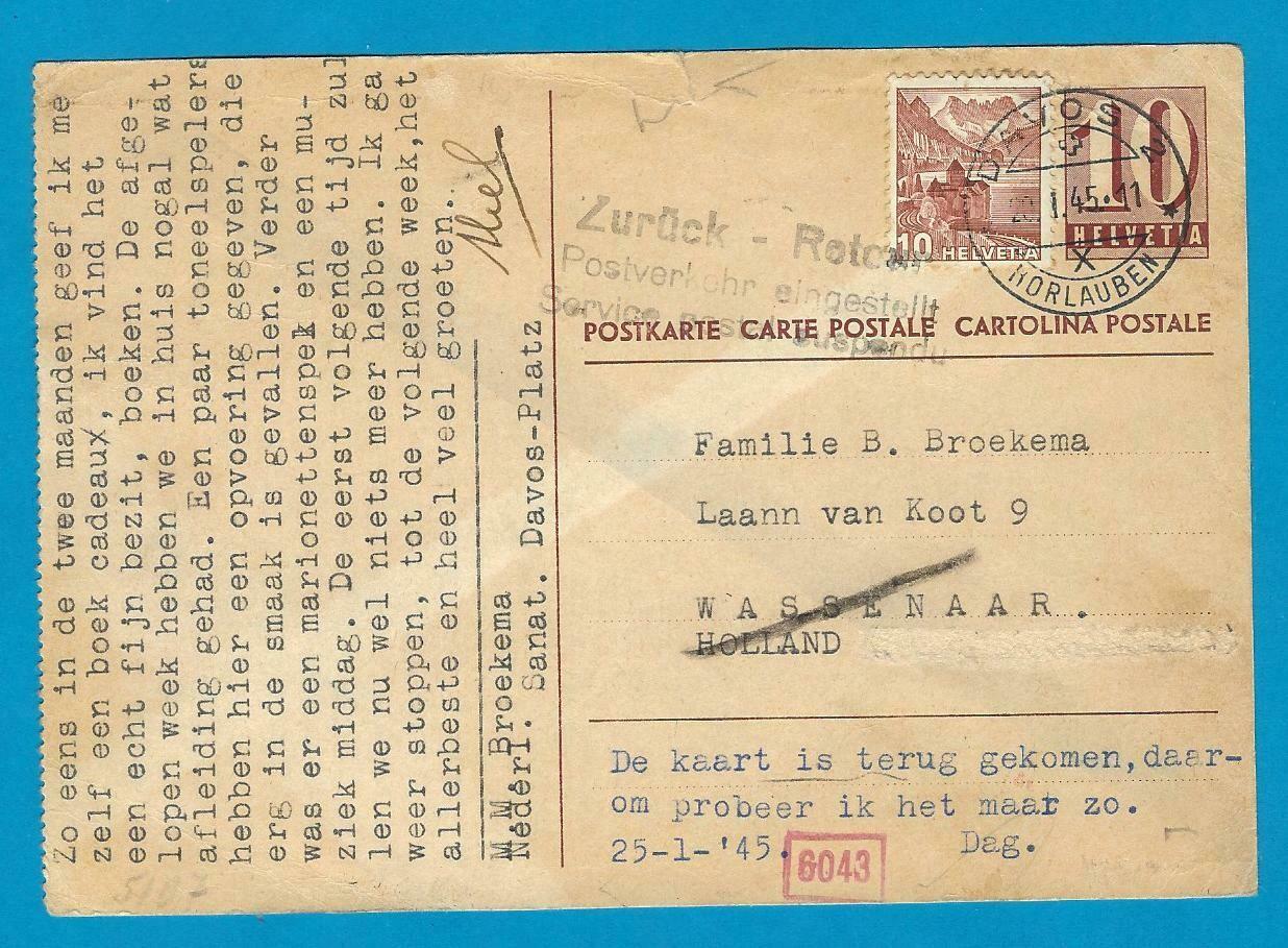 ZWITSERLAND briefkaart 20-1-1945 naar Nederland retour