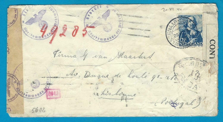 NEDERLAND brief 20-VII-1944 Wassenaar naar Portugal