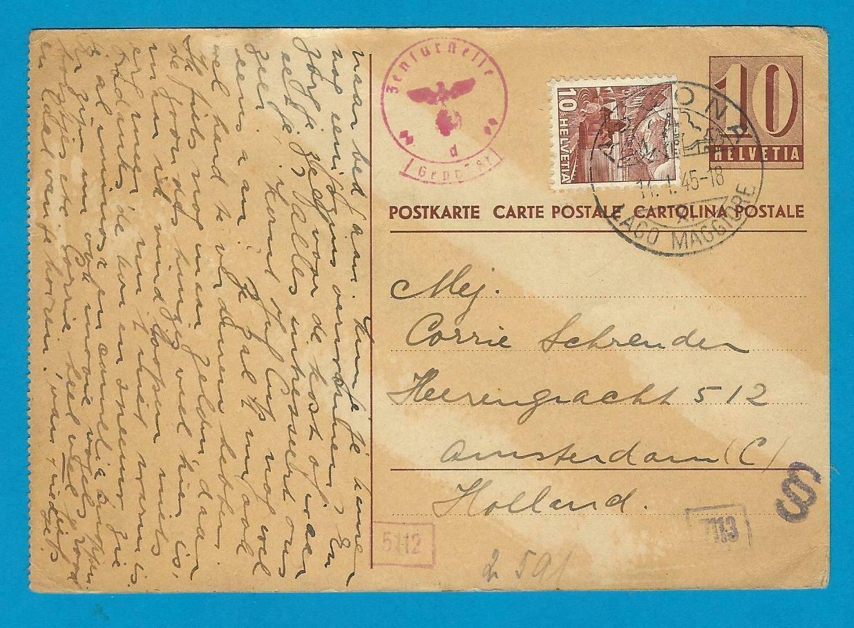 ZWITSERLAND briefkaart 11-1-1945 Ascona naar Amsterdam