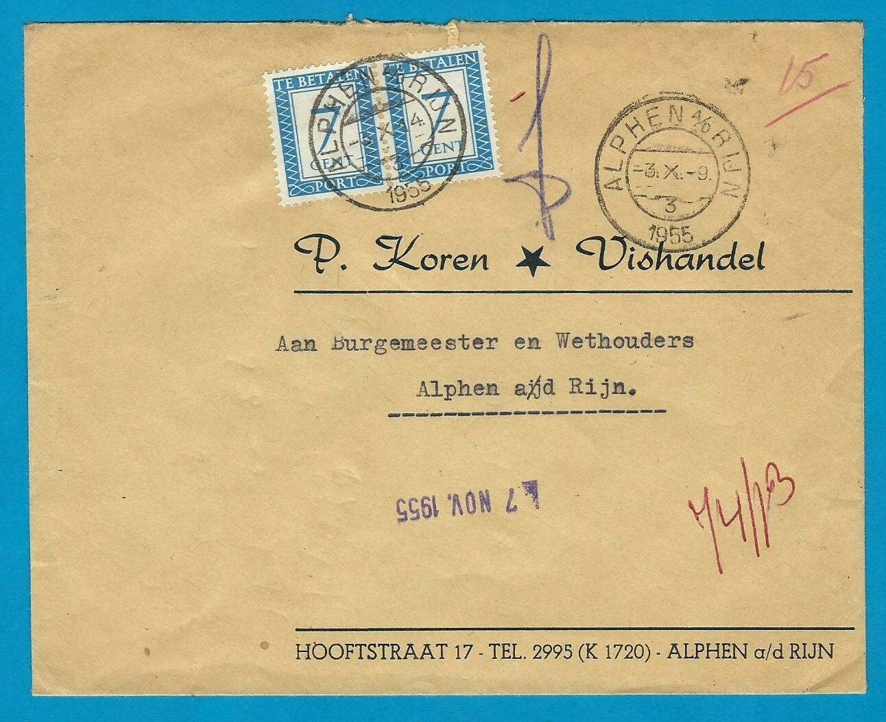 NEDERLAND brief 1955 Alphen lokaal met port 2x7ct