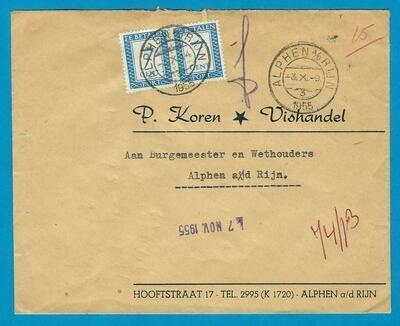 NEDERLAND brief 1955 Alphen lokaal met port 2x7ct