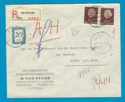 NEDERLAND brief 1955 Hilversum ambsthalve aangetenend
