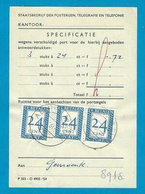 NEDERLAND port specificatie 1964 Alphen met 3x24ct