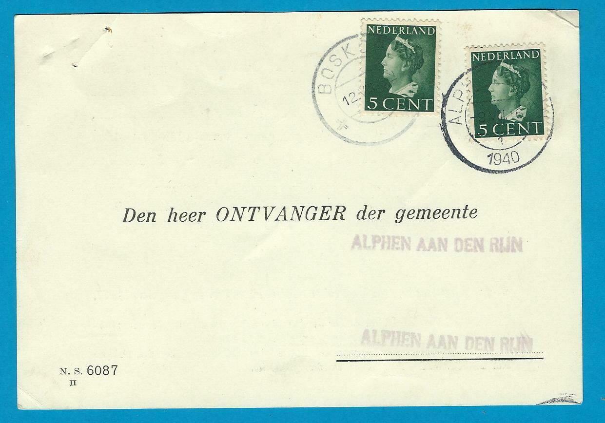 NEDERLAND kaart 1940 Alphen teruggestuurd Boskoop