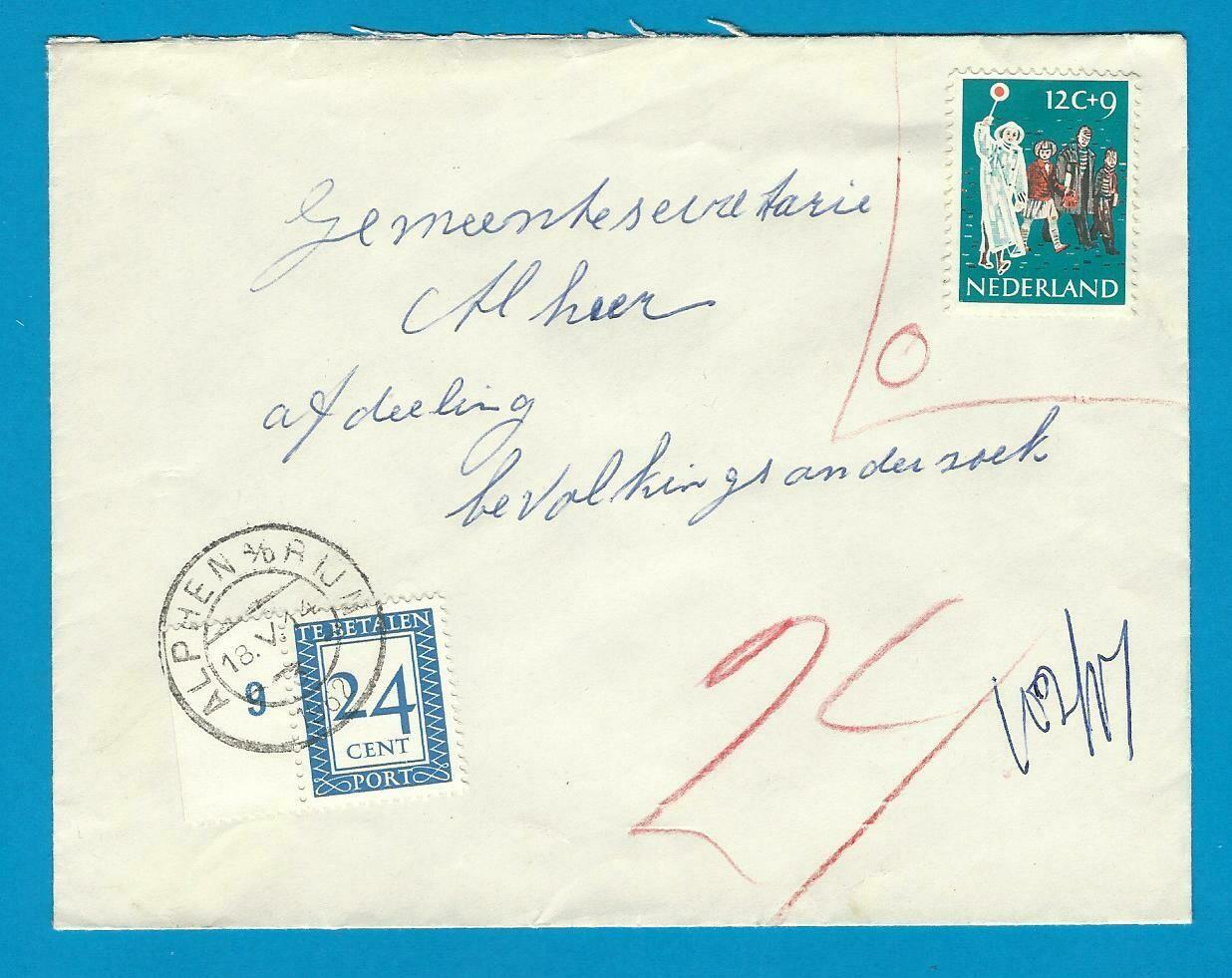 NEDERLAND brief 1962 Alphen lokaal zegel ongeldig en beport
