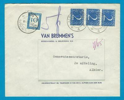 NEDERLAND brief 1955 Alphen onvoldoende gefrankeerd