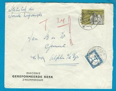 NEDERLAND brief 1964 Zwammerdam met port belast