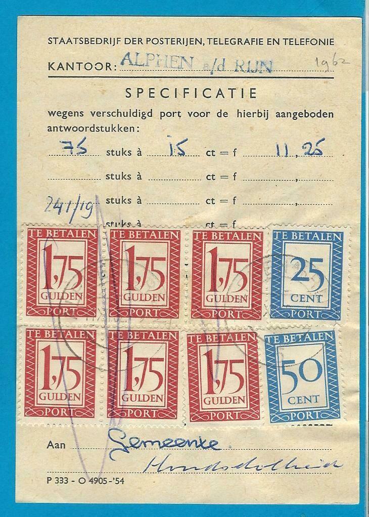 NEDERLAND formulier 1962 Alphen voor fl. 11,25 port
