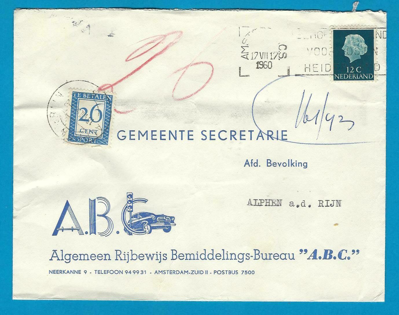 NEDERLAND brief 1960 Amsterdam naar Alphen en beport
