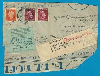 NEDERLAND pakketdeel 1947 Heerenveen -Niet toegelaten