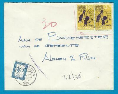 NEDERLAND brief 1965 Woerden naar Alphen beport