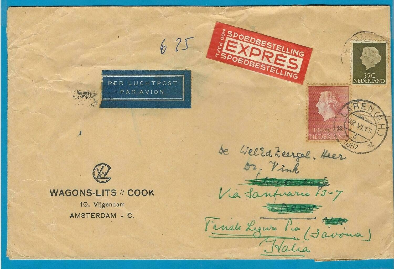 NEDERLAND R brief 1957 Amsterdam naar Naarden door naar Italië