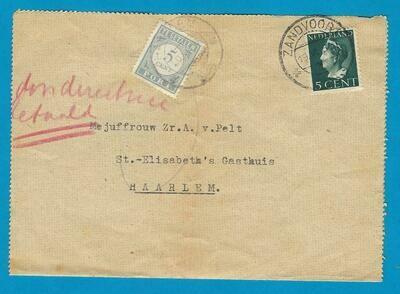 NEDERLAND brief 1946 Zandvoort naar Haarlem met port belast
