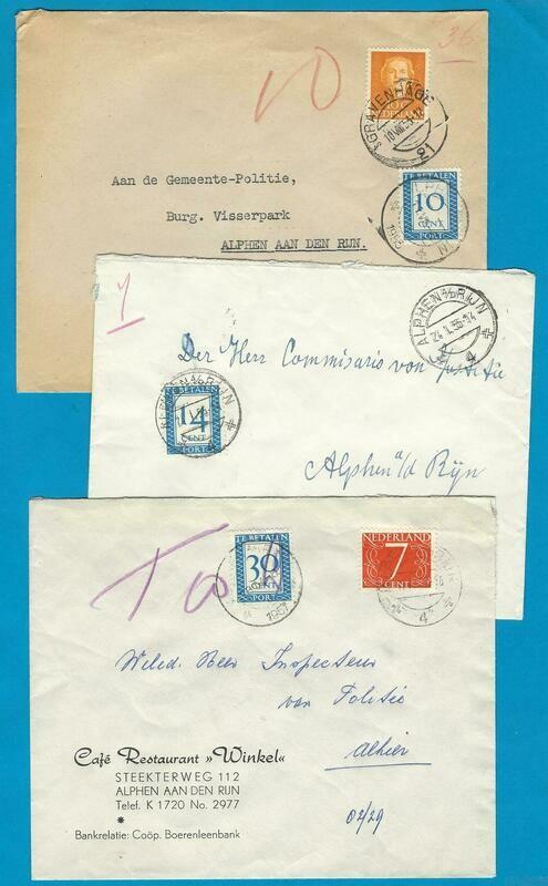NEDERLAND 3 brieven jaren 50 met port belast