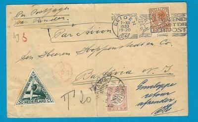 NEDERLAND luchtpost brief 1933 Postjager met port belast