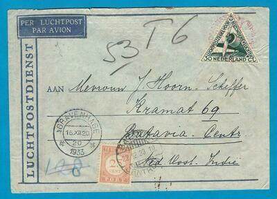 NEDERLAND brief 1933 Zilvermeeuw met port belast