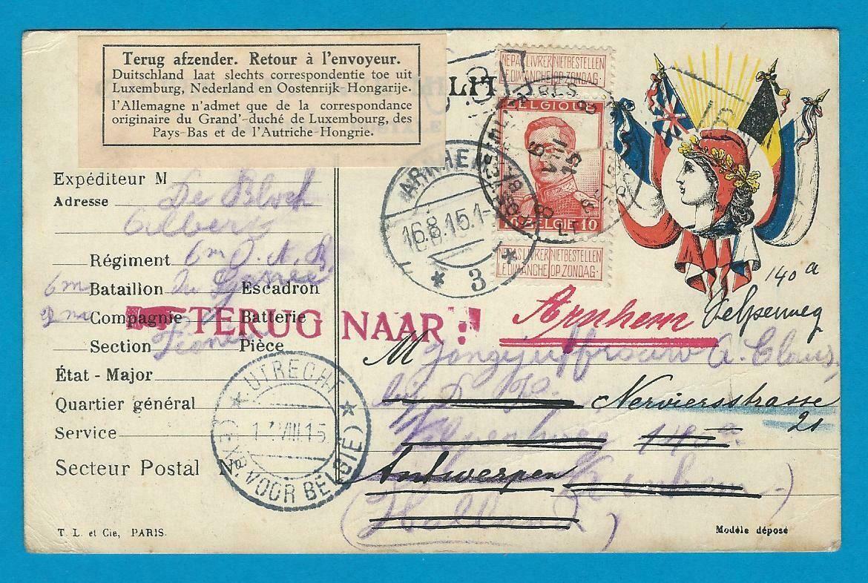NEDERLAND doorgezonden militaire kaart België 1915 geweigerd
