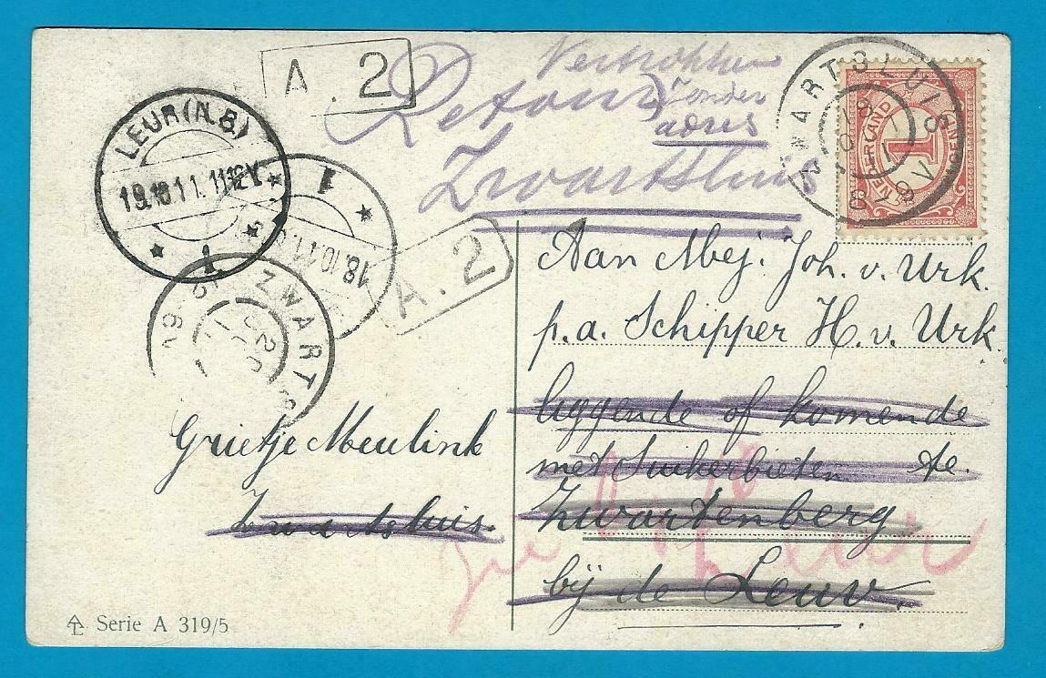 NEDERLAND prentbriefkaart 1911 Zwartsluis naar Leur en retour