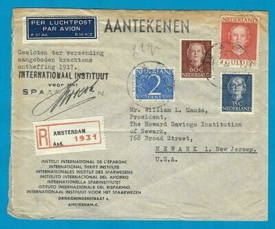 NEDERLAND R lp brief 1950 Amsterdam naar USA