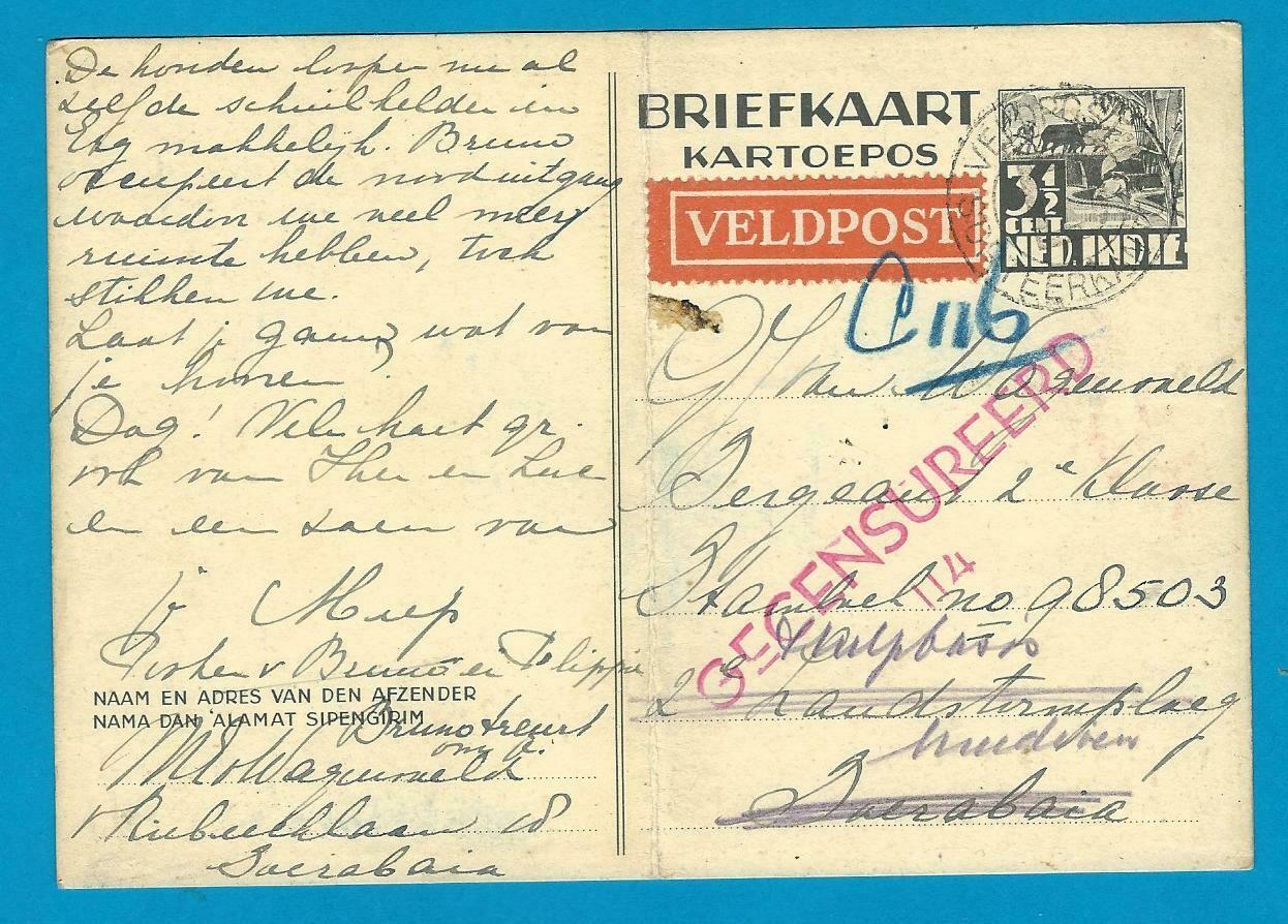 NETHERLANDS EAST INDIES fieldpost censor card 1942 Soerabaja