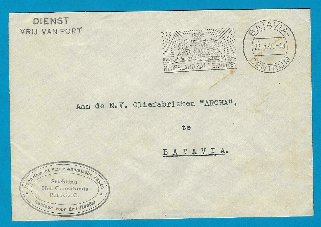 NETHERLANDS EAST INDIES official cover 1941 Batavia