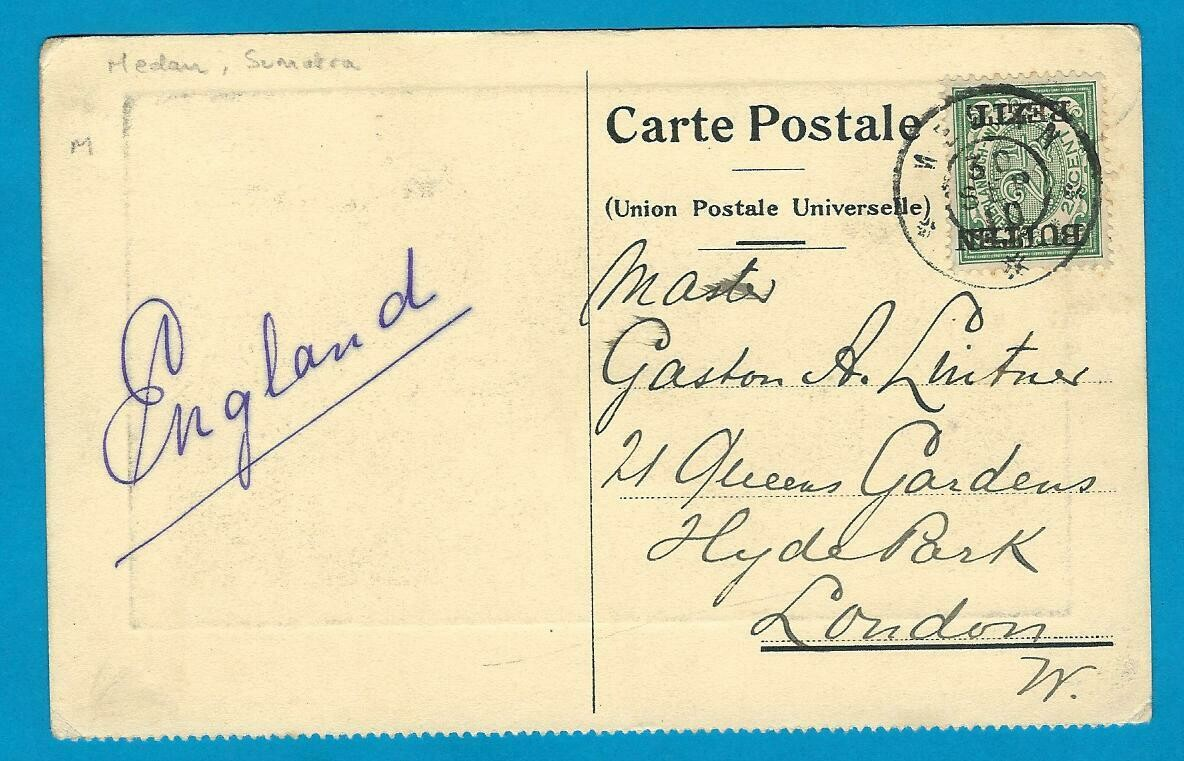 NETHERLANDS PPC KPM 1910 Medan to England