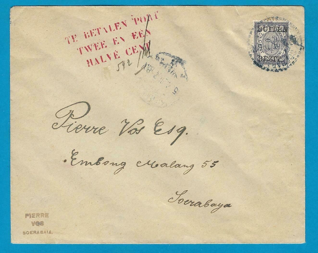 NETHERLANDS EAST INDIES postage due cover 1921 Soerabaja