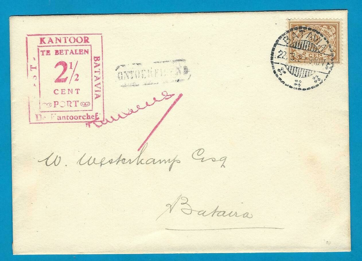 NETHERLANDS EAST INDIES postage due cover 1921 Batavia