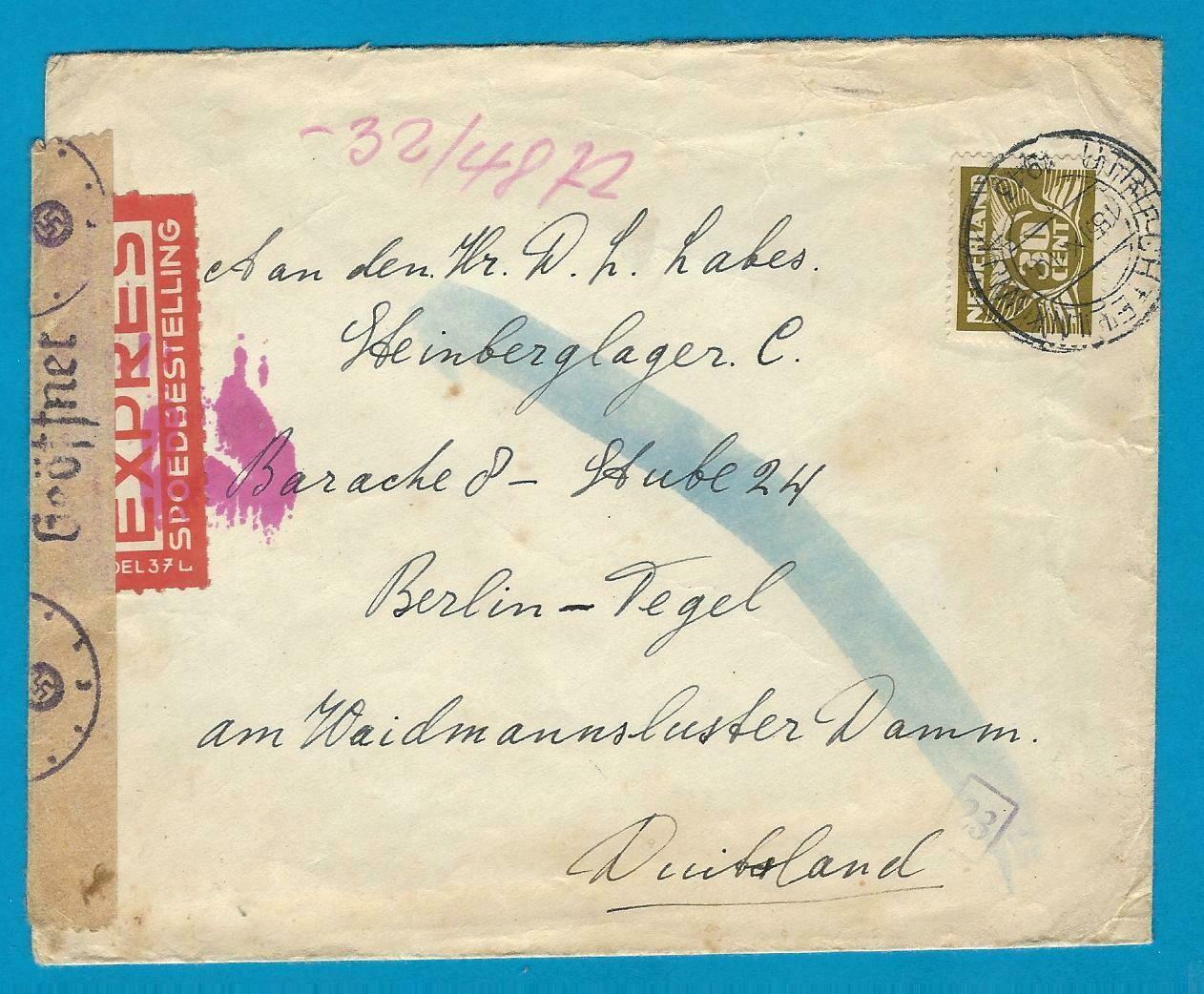 NEDERLAND expres brief 1943 Utrecht naar Duitsland