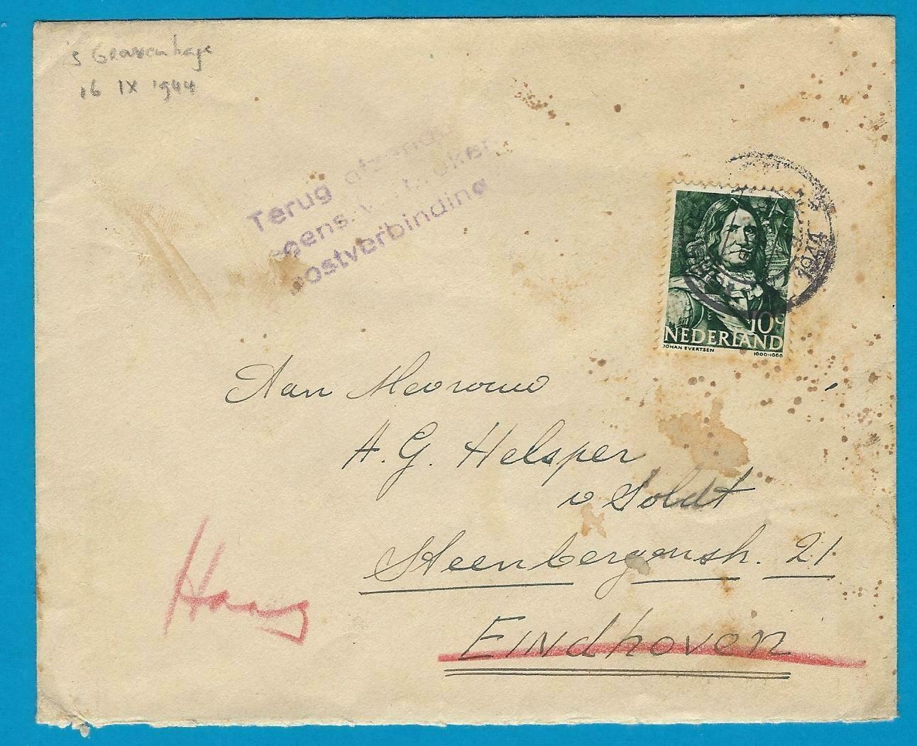 NEDERLAND brief Den Haag 16-IX-1944 naar Eindhoven -verbroken verbinding