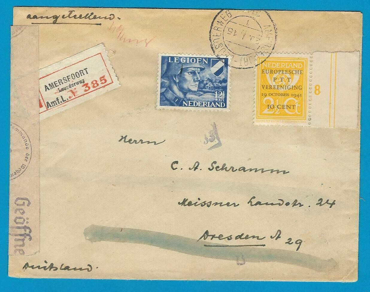 NEDERLAND R brief 1943 Amersfoort naar Duitsland