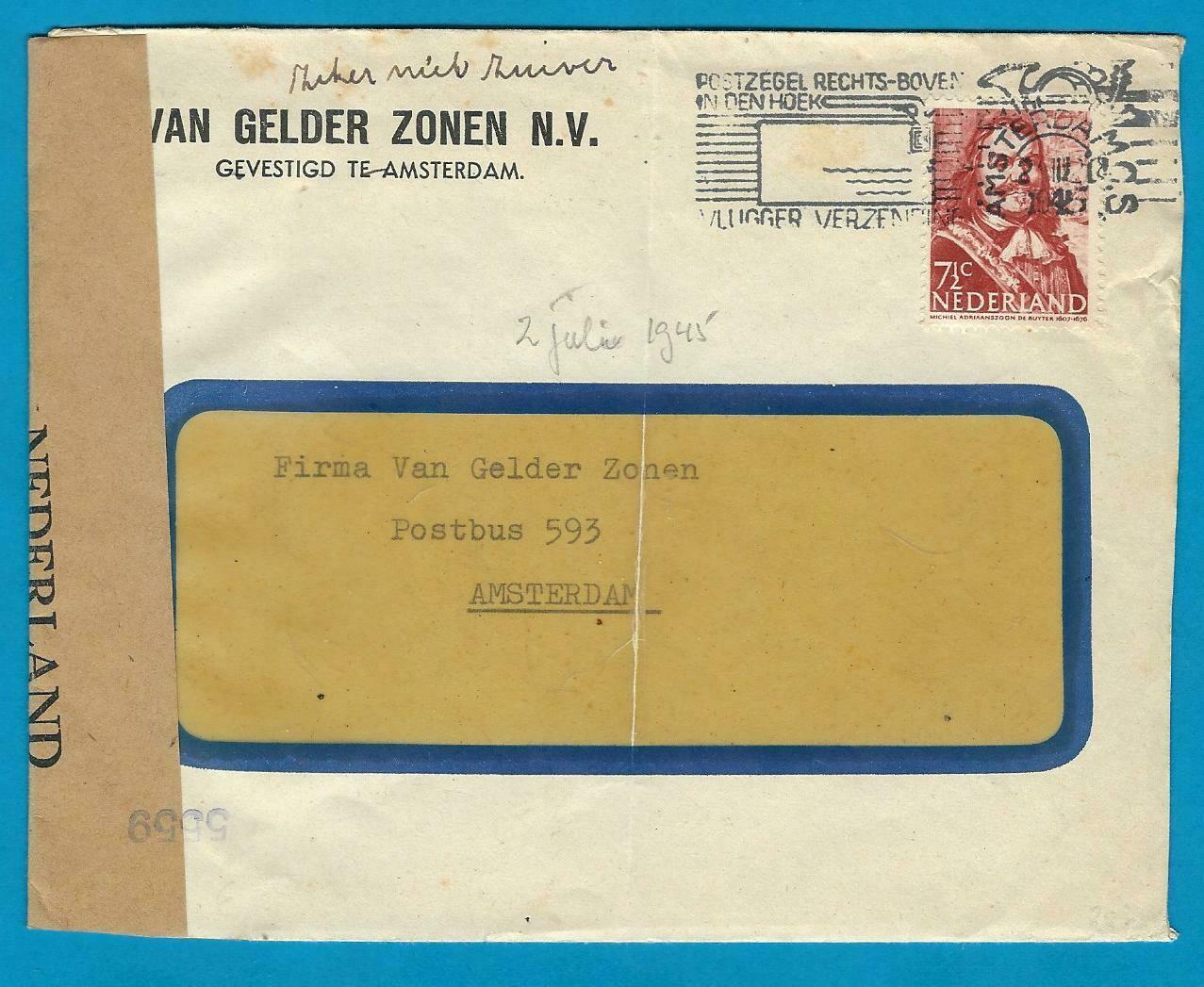 NEDERLAND lokaal gecensureerde brief 1945 Amsterdam